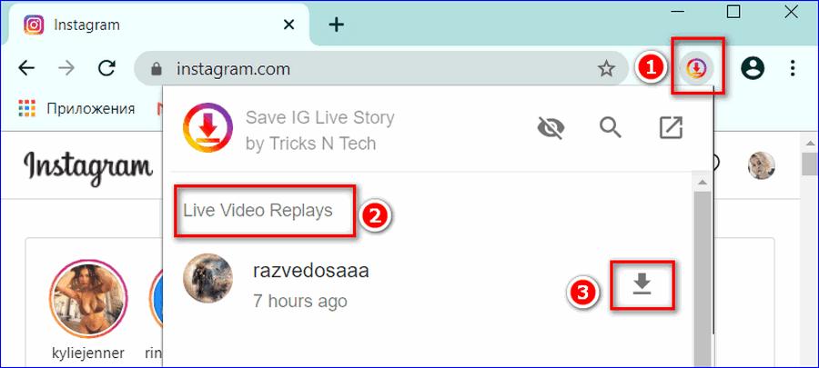 11. Скачивание записей прямых эфиров с расширением Save IG Story