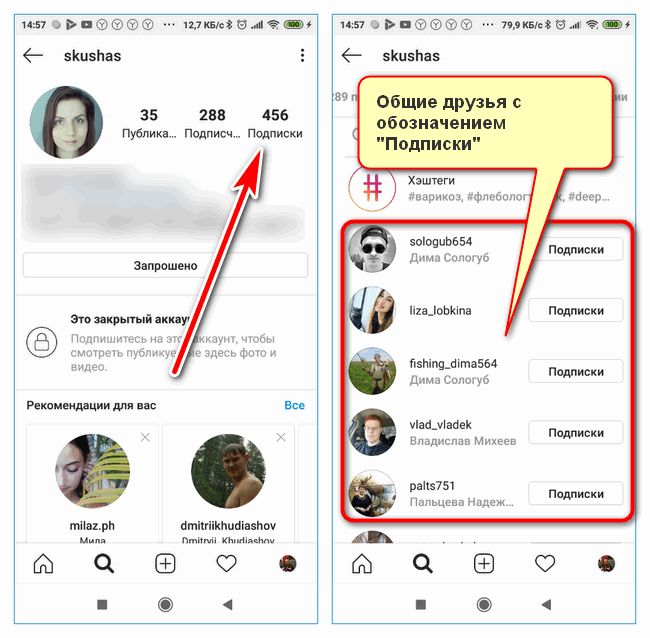 Общие друзья Instagram