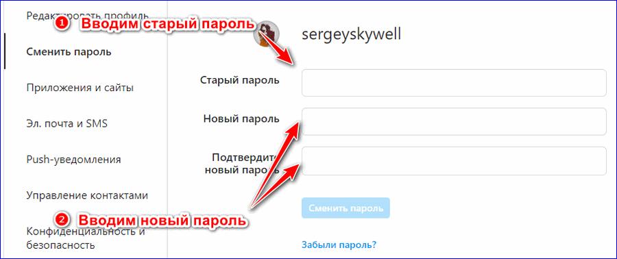 Окно смена пароля Веб версия